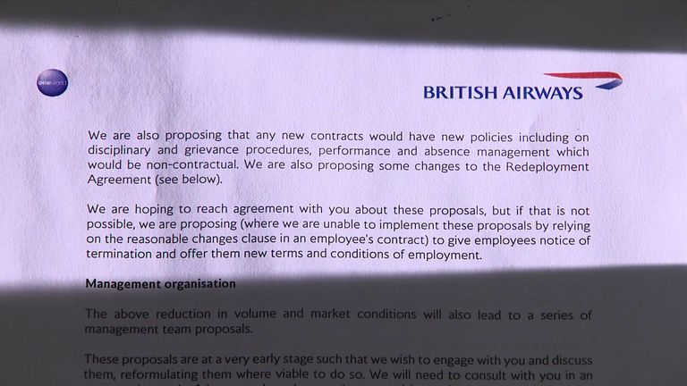 The letter showing a contactual change will be needed for staff at the airline