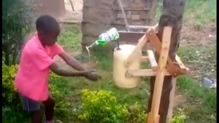 A nine-year-old Kenyan boy who made a wooden hand-washing machine to help curb the spread of coronavirus receives a presidential award.