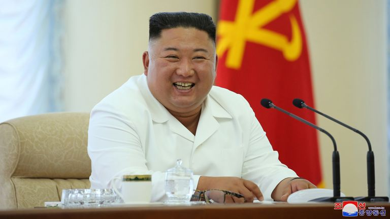 North Korean leader Kim Jong Un takes part in the 13th Political Bureau meeting of the 7th Central Committee of the Workers' Party of Korea