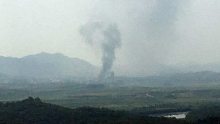 A smoke rises from Kaesong Industrial Complex in this picture taken from the south side in Paju, South Korea, June 16, 2020. Yonhap via REUTERS ATTENTION EDITORS - THIS IMAGE HAS BEEN SUPPLIED BY A THIRD PARTY. SOUTH KOREA OUT. NO RESALES. NO ARCHIVE.