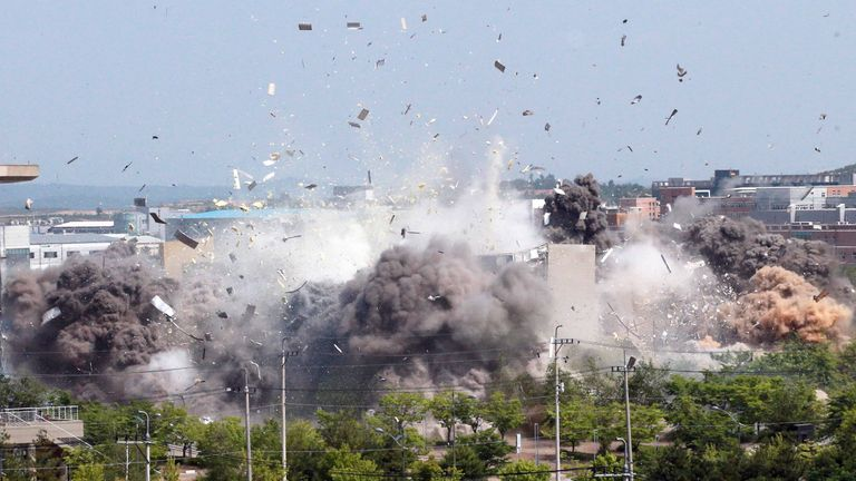 A view of an explosion of a joint liaison office with South Korea in border town Kaesong, North Korea in this picture supplied by North Korea's Korean Central News Agency (KCNA) on June 16, 2020. KCNA via REUTERS ATTENTION EDITORS - THIS IMAGE WAS PROVIDED BY A THIRD PARTY. REUTERS IS UNABLE TO INDEPENDENTLY VERIFY THIS IMAGE. NO THIRD PARTY SALES. SOUTH KOREA OUT. NO COMMERCIAL OR EDITORIAL SALES IN SOUTH KOREA.
