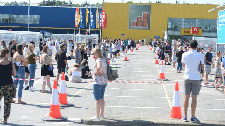 A long queue has formed outside Ikea in Thurrock