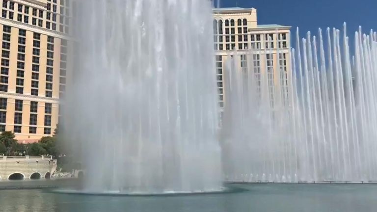 The fountains outside Las Vegas' Bellagio Hotel & Casino were fired up again on June 4 as casinos in Sin City opened for the first time since March.