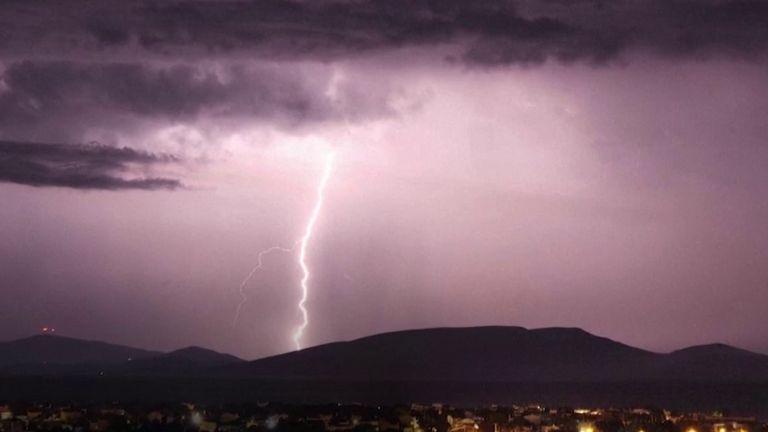 Spectacular lightning display over Athens