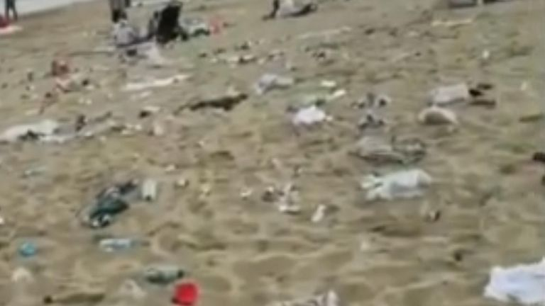 Bournemouth beach has been left covered with litter