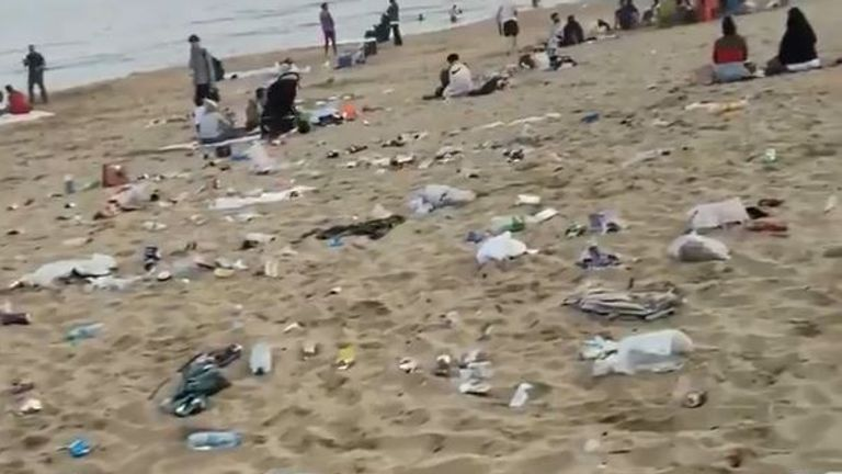Large amounts of litter has been left behind on the beach