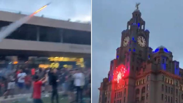 Footage on social media shows someone launching a firework at the Liver Building. Pic: @efcusualsuspect