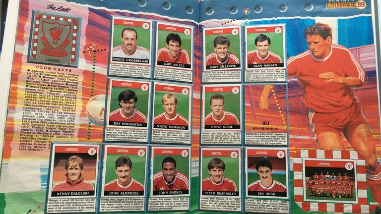 The 1989 sticker album with Ronnie Whelan missing