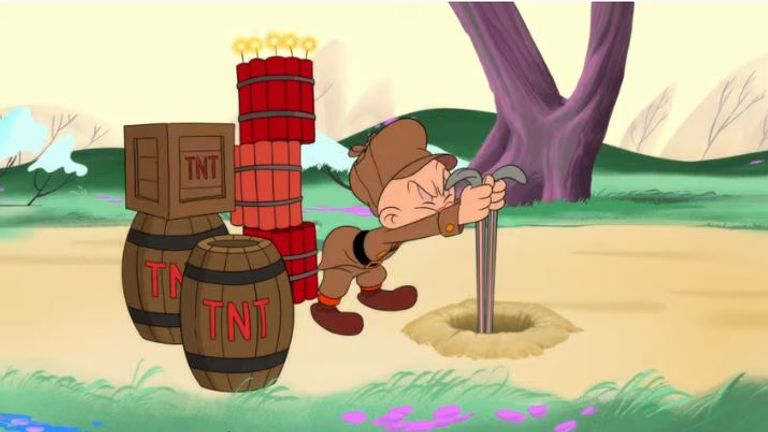 The hapless Elmer Fudd is deceived by his arch-nemesis Bugs Bunny