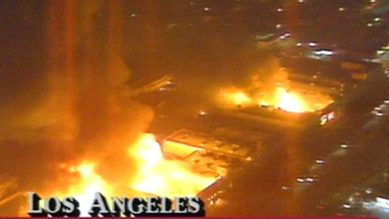 Los Angeles riot in 1992, prompted by the arrest of Rodney King