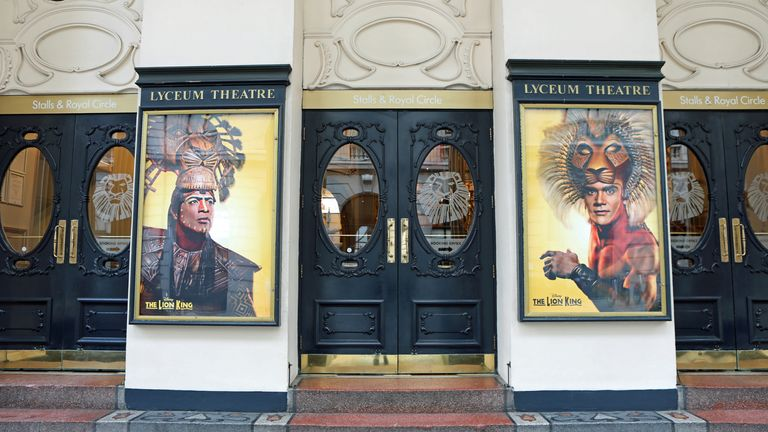 The Lyceum Theatre showing posters from the production the Lion King in London. PA Photo. Picture date: Friday January 17, 2020