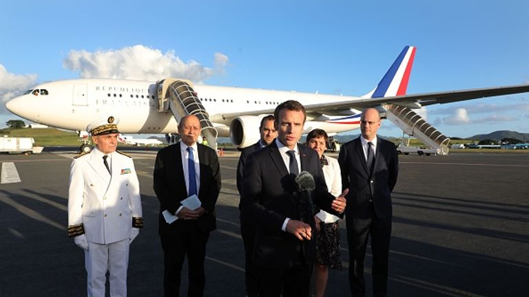 President Macron uses a plane adorned with the colours of the French flag