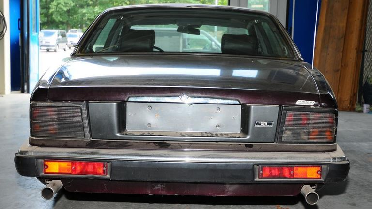 The rear of the Jaguar car linked to a German suspect being investigated over Madeleine McCann's disappearance. Pic: Met Police