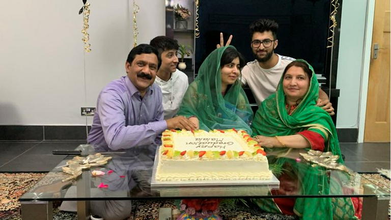 Malala is celebrating after completing her degree. Pic: Twitter/ Malala