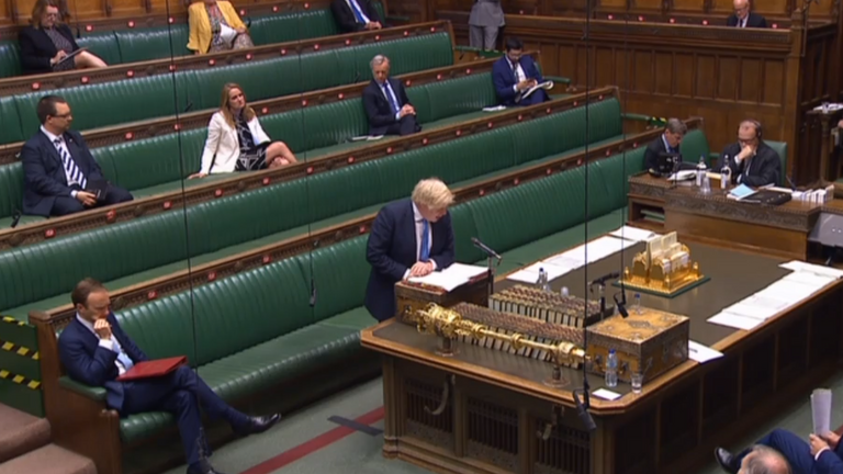 Matt Hancock and Boris Johnson at PMQs