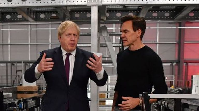 The Hut Group founder Matthew Moulding with Boris Johnson  during the election campaign last year