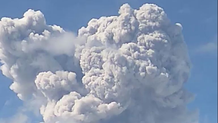 A column of ash rises following an eruption of Mount Merapi, Magelang, in Central Java, Indonesia