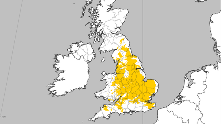 These areas are set to met or exceed the threshold for a heatwave this week. Pic: Met Office