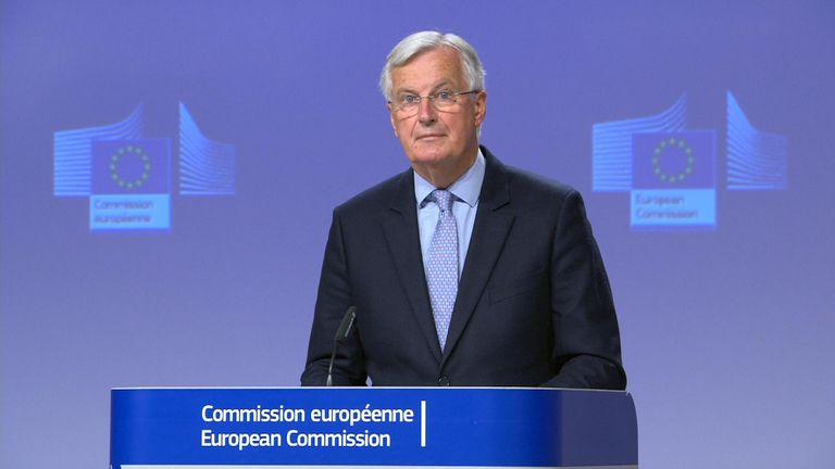 Michel Barnier talking at the EU Commission.