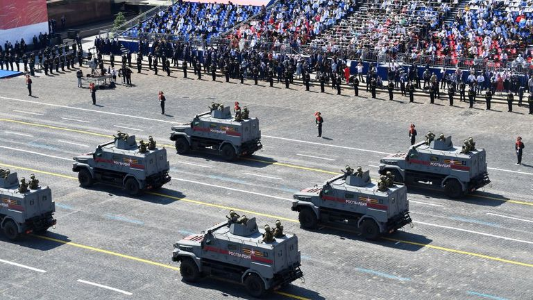 Military police armored vehicles during a Victory Day military parade