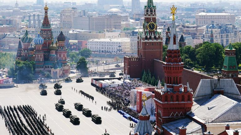 A general view of the Victory Day military parade in Red Square, Moscow