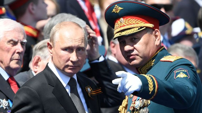 President Vladimir Putin and Russian Defense Minister Sergei Shoigu at the Victory Day parade