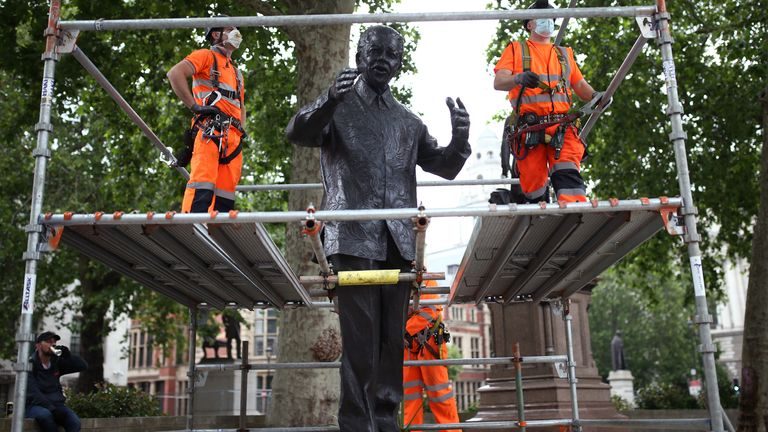The statue of Nelson Mandela in Parliament Square, London, is boarded up following a raft of Black Lives Matter protests took place across the UK