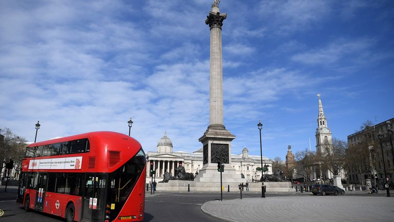 Nelson's Column towers over Trafalgar Square in central London