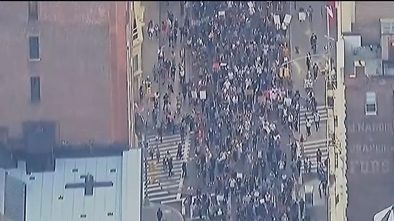 Peaceful protests over the death of George Floyd have continued in New York City with thousands of demonstrators taking to the streets in Manhattan on Monday.