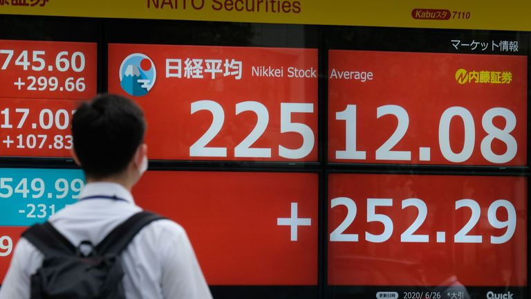 A pedestrian walks in front of an electronic quotation board displaying share prices of the Tokyo Stock Exchange in Tokyo on June 26, 2020.