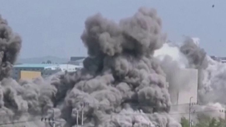 An inter-Korea liaison office is destroyed in North Korea, near the demilitarised zone