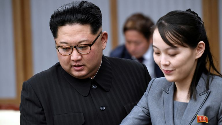 Kim Jong Un's sister, Kim Yo Jong (R), warned the liaison office would be destroyed