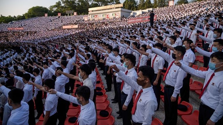 Students and young people attended a mass gathering denouncing 'defectors from the north' in Pyongyang in early June