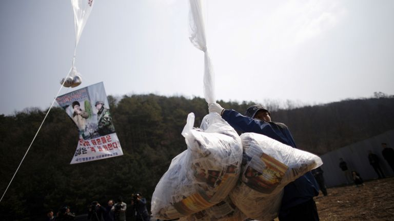 Park Sang Hak, a North Korean defector and head of an anti-North Korea civic group living in the South, has been sending leaflets denouncing Kim Jon Un to the North