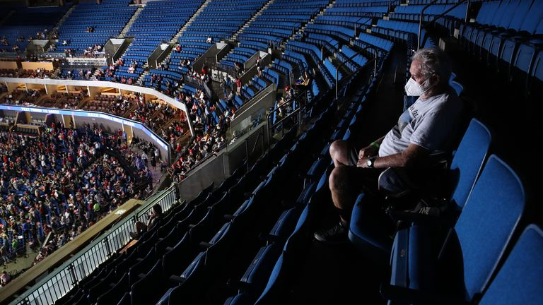 A supporter sits in the upper seats during a campaign rally for U.S. President Donald Trump at the BOK Center, June 20, 2020 in Tulsa, Oklahoma. Trump is holding his first political rally since the start of the coronavirus pandemic at the BOK Center on Saturday while infection rates in the state of Oklahoma continue to rise