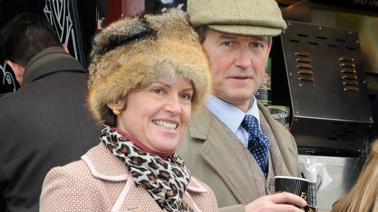 Owen Paterson and his wife Rose in 2012. Pic: Alan Davidson/Shutterstock  The Festival, at Cheltenham Race Track The Festival at Cheltenham Gold Cup Day Friday Owen Paterson Mp Secretary of State For Northern Ireland and His Wife and Daughter  18 Mar 2012