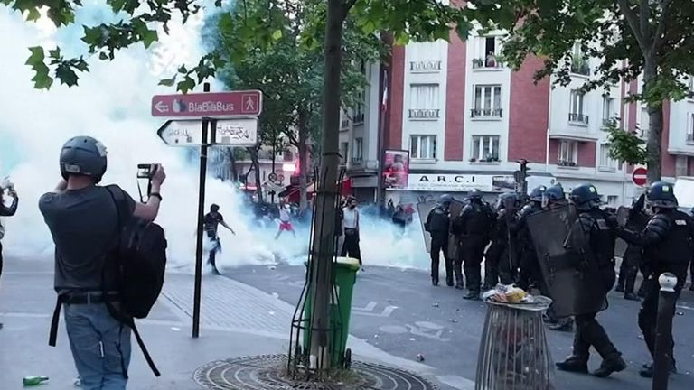 Paris police on Tuesday night (June 2) fired tear gas on demonstrators protesting the killing of black Frenchman Adama Traore, who died in a 2016 police operation.