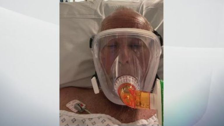 Pete Herring during his time in hospital, where he was part of a trial of dexamethasone, which has been shown to reduce deaths among people with COVID-19