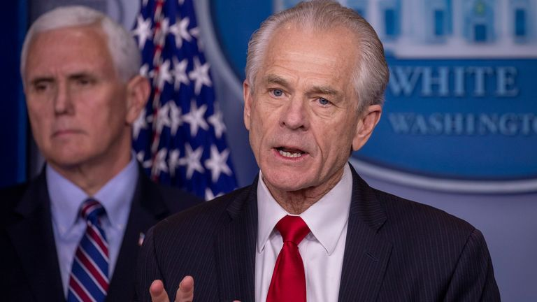 Peter Navarro, Director of the National Trade Council speaks during a press briefing in the James Brady Press Briefing Room at the White House on March 22, 2020 in Washington, DC