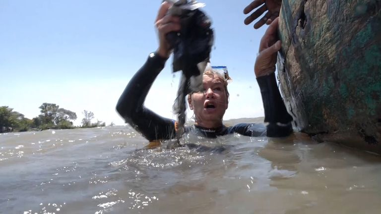 Sky Special Correspondent Alex Crawford discovered plastic in Lake Victoria