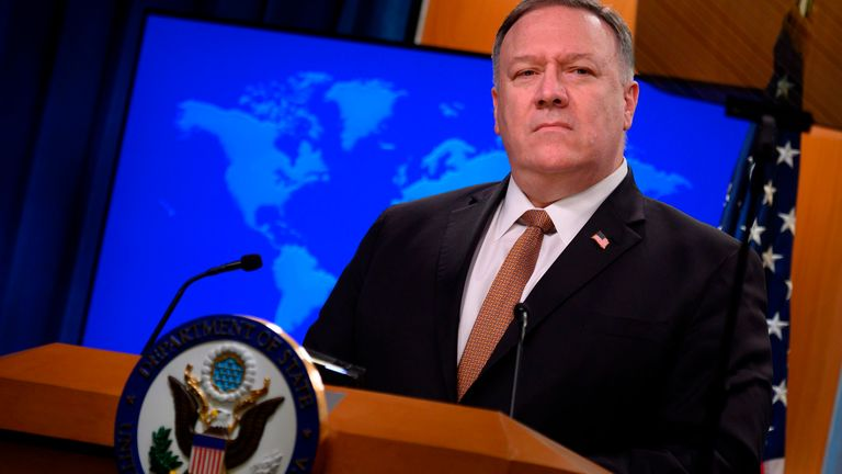 "US Secretary of State Mike Pompeo speaks during a press conference at the State Department in Washington, DC, on March 25, 2020. - Foreign ministers of the Group of Seven industrial powers agreed in talks Wednesday that China is waging a ""disinformation"" campaign about the coronavirus pandemic, Pompeo said"
