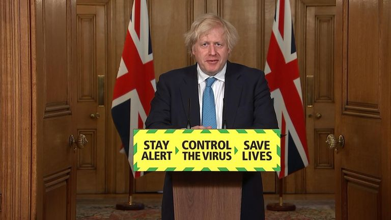 Prime Minister Boris Johnson leads the government's daily coronavirus press briefing