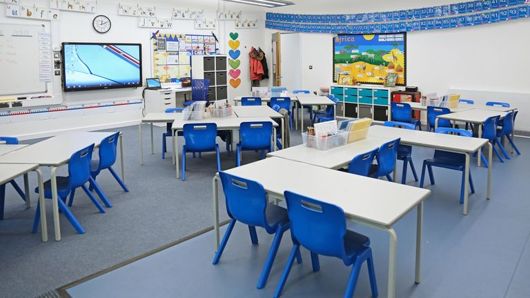 Classroom in a newly built London Primary school