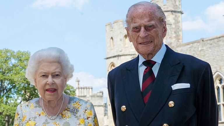EMBARGOED: Not for publication or onward transmission before 2200 BST Tuesday June 9, 2020. Queen Elizabeth II and the Duke of Edinburgh pictured 1/6/2020 in the quadrangle of Windsor Castle ahead of his 99th birthday on Wednesday.