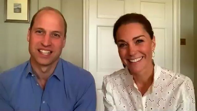 Duke and Duchess of Cambridge are pictured during Volunteers Week, speaking from Kensington Palace, to volunteers at Conscious Youth