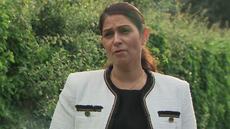 Priti Patel has called violent behaviour at protests 'unacceptable'.