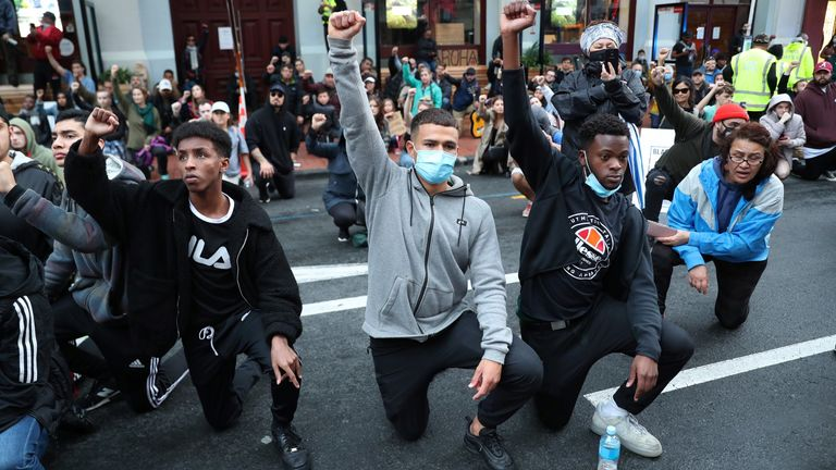 protesters demonstrate against the killing of Minneapolis man George Floyd in a Black Lives Matter protest in Auckland