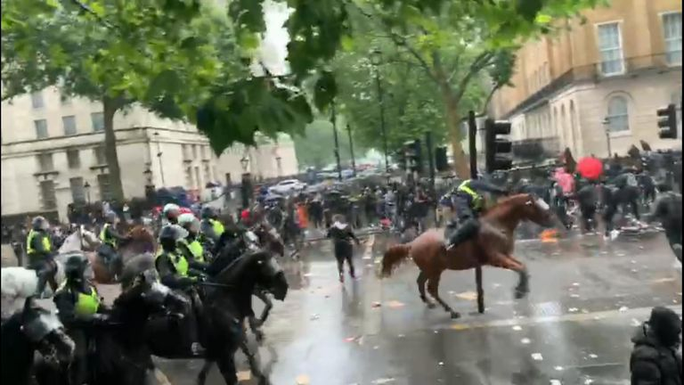 The moment a police officer hits a traffic light while riding a horse.