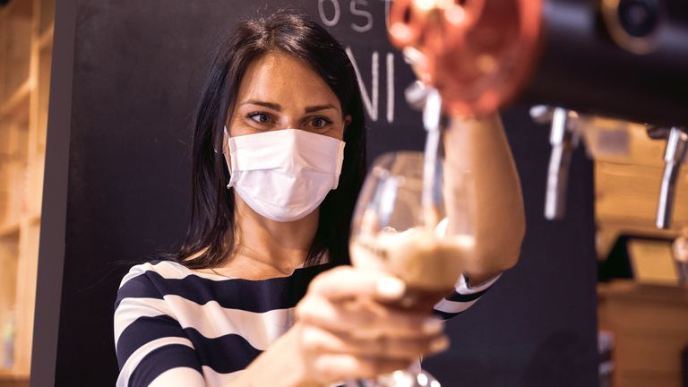 Bartenders will wear face masks when serving drinks
