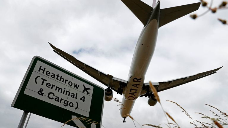 A Qatar Airways flight comes in to land at Heathrow airport in west London as the UK government's planned 14-day quarantine for international arrivals to limit the spread of Covid-19 starts on June 8, 2020.